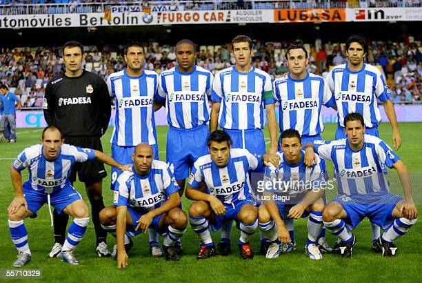 The Deportivo team line up before the La Liga match between Valencia and Deportivo at the Mestalla Stadium September 17 2005 in Valencia Spain