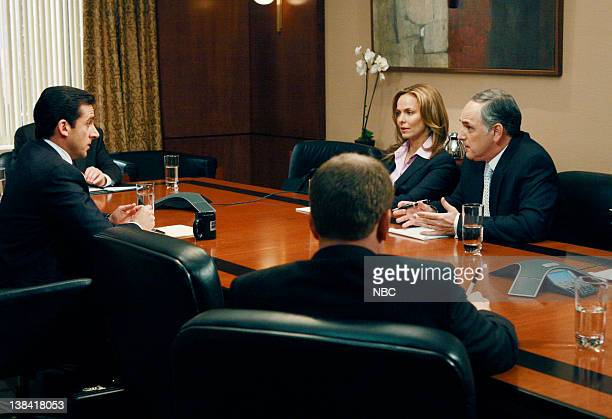 THE OFFICE 'The Deposition' Episode 8 Aired Pictured Steve Carell as Michael Scott Melora Hardin as Jan Levinson and Patrick O'Connor as Lester Snyder