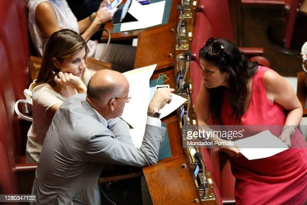 The deputies Francesco Sisto, Annagrazia Calabria and Jole Santinelli in the Chamber of Deputies during the continuation of the discussion of the...