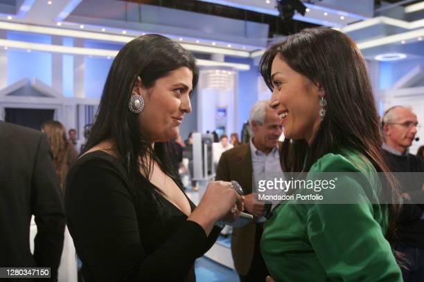 The deputies Jole Santelli and Mara Carfagna during the break of the TV show Porta a Porta. Rome , November 21st, 2006