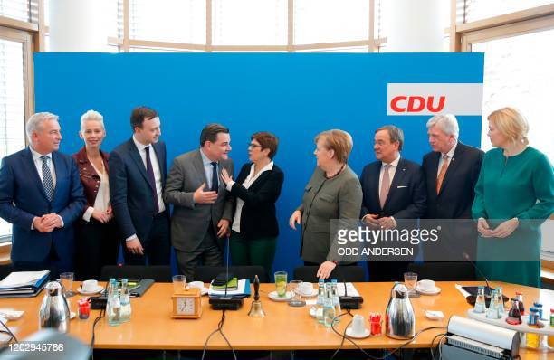 The Deputy Chairman of the Christian Democratic Union in Germany Thomas Strobl, CDU Deputy Chairwoman Silvia Breher, the Secretary General of the...