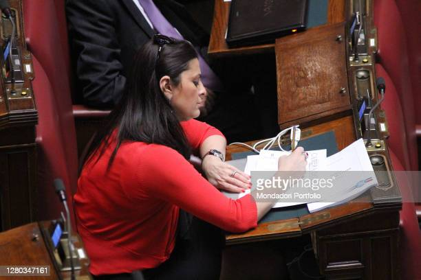 The deputy Jole Santinelli in the Chamber of Deputies during the final vote on the Banking Commission Bill. Rome , May 17th, 2012