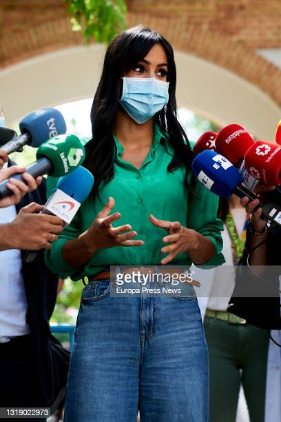 The Deputy Mayor of Madrid, Begoña Villacis gives statements to the media during her visit to the Centro de Acogida Municipal Para Personas Sin Hogar...