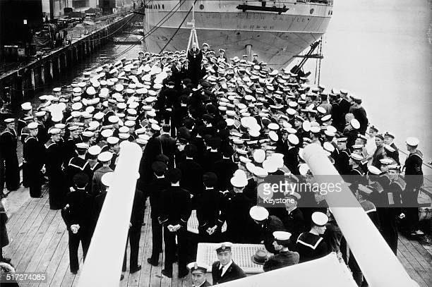 The deputy mayor of Plymouth welcomes the crew of the British Royal Navy Leanderclass light cruiser HMS Ajax on their return from the Battle of the...