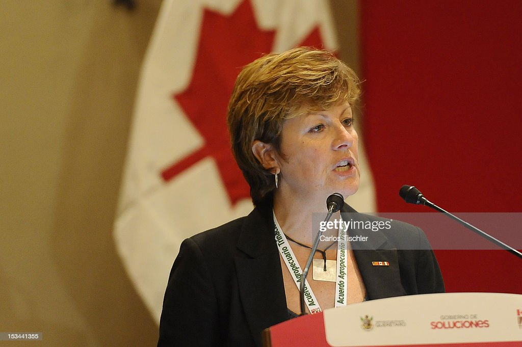 The Deputy Minister of the Ministry of Agriculture of Saskatchewan, Alanna Koch speaks during the inauguration of the 2012 Tri-National Agricultural Agreement, which seeks to increase the commercialization of products between Canada, United States and Mexico, on October 03, 2012 in Jurica, Queretaro.