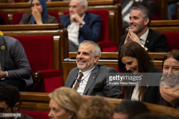 The deputy of Ciudadanos Carlos Carrizosa and the spokeswoman of Ciudadanos in the parliament of Cataluña Lorena Roldan during the plenary session of...