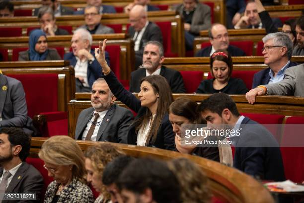 The deputy of Ciudadanos Carlos Carrizosa and the spokeswoman of Ciudadanos in the parliament of Cataluña Lorena Roldan during the voting at a...