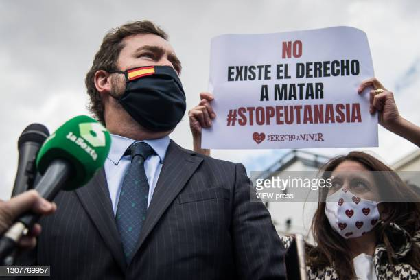 The deputy of the VOX conservative party, Espinosa de los Monteros, gives his support to the demonstration against the euthanasia law in front of the...