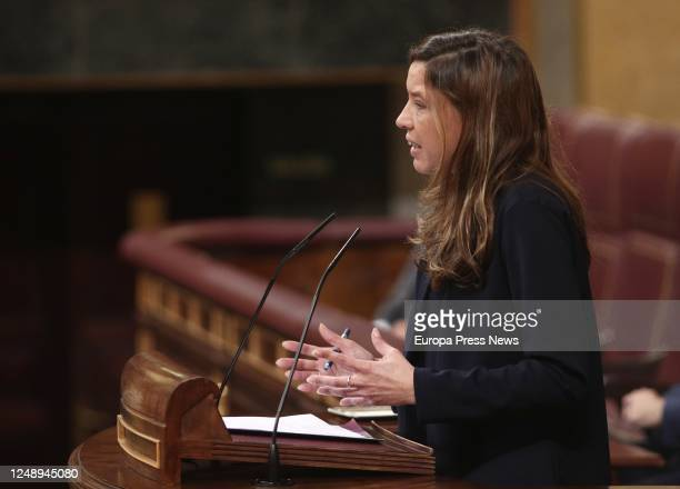 The deputy of Unidas Podemos Laura Lopez Domínguez is seen during a plenary session in the Congress to examine the tax on financial transactions...