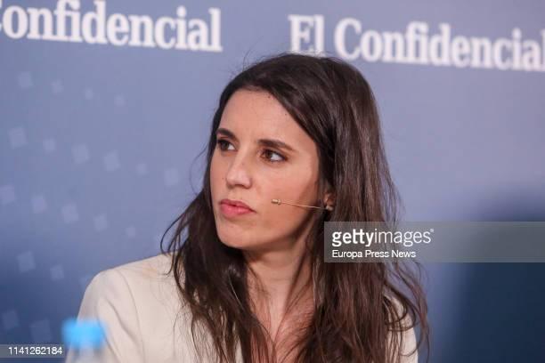 The deputy of Unidos Podemos from Madrid in the Parliament Irene Montero participates in the debate 'Del 8M al 28A El debate de las poíticas...