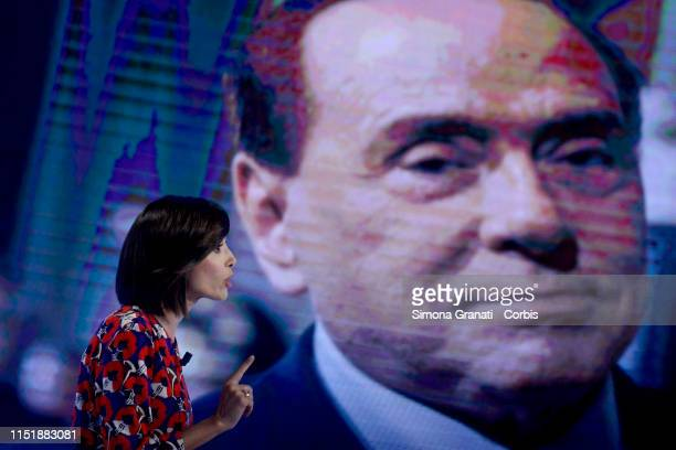 The Deputy President of the Chamber of Deputies Mara Carfagna attends the television program L'Aria che Tirain front of the screen with Silvio...