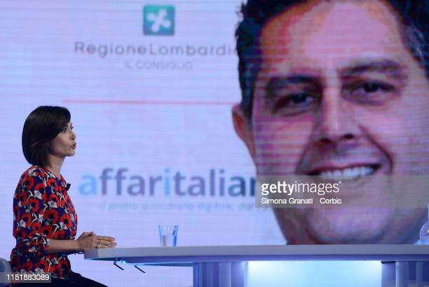The Deputy President of the Chamber of Deputies Mara Carfagna attends the television program L'Aria che Tira,on the screen Giovanni Toti, on June 25,...
