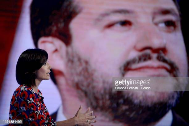 The Deputy President of the Chamber of Deputies Mara Carfagna attends the television program L'Aria che Tirain front of a screen with Matteo Salvini...