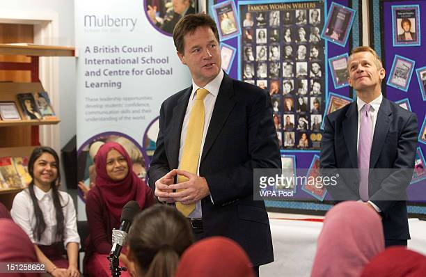 The Deputy Prime Minister Nick Clegg and MP David Laws are seen during a visit school to Mulberry School for Girls in Tower Hamlets on Septemebr 5...