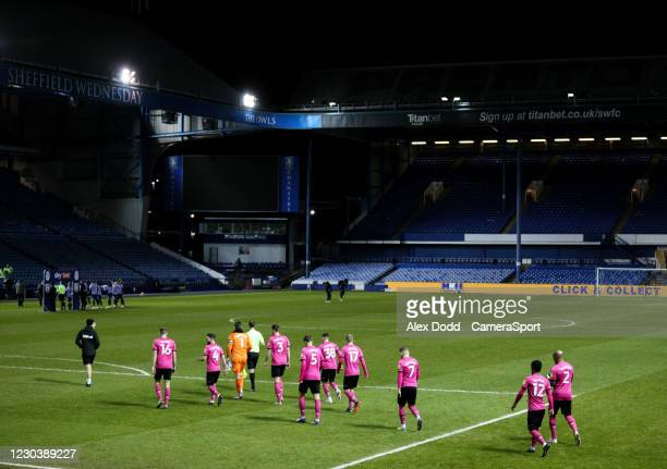 The Derby County team head out onto the pitch during the Sky Bet Championship match between Sheffield Wednesday and Derby County at Hillsborough...