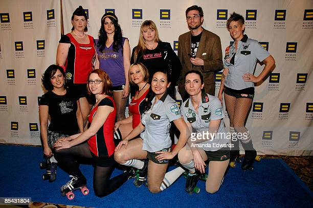 The LA Derby Dolls attend the Human Rights Campaign's Annual Los Angeles Gala and Hero Awards at the Hyatt Century Plaza Hotel on March 14 2009 in...