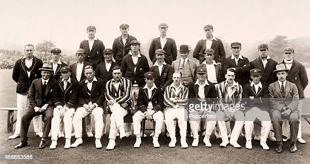 The Derbyshire County cricket team with the Australian cricket team prior to their match at Chesterfield on 23rd June 1926 The match ended in a draw...