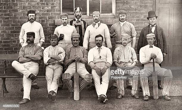 The Derbyshire cricket team pose for a group photograph in Derby circa 1877