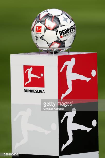 The Derbystar Brillant APS football is seen prior to the Bundesliga match between Bayer 04 Leverkusen and VfL Wolfsburg at BayArena on September 1...