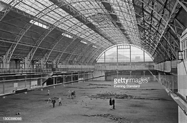 The derelict Royal Agricultural Hall between Upper Street and Liverpool Road in Islington, London, UK, 29th November 1972. It was converted to the...
