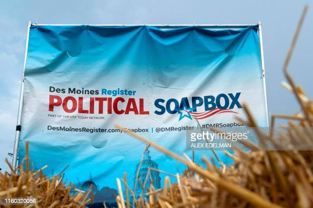 The Des Moines Register political Soapbox is readied at the Iowa State Fair on August 8 2019 in Des Moines Iowa Democratic presidential hopefuls will...