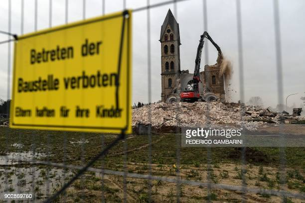 The desacralized St Lambertus church in ErkelenzImmerath western Germany is being demolished on January 9 in order to make possible brown coal...