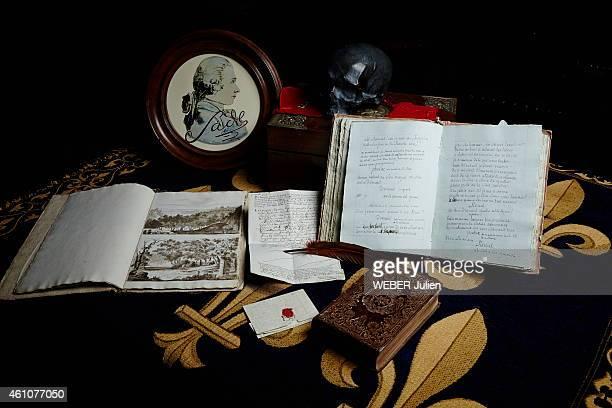 the descendants of the Marquis de Sade Thibault de Sade Hugues de Sade Elzear de Sade in the house of Gonzagues Saint Bris for the bicentenary of the...
