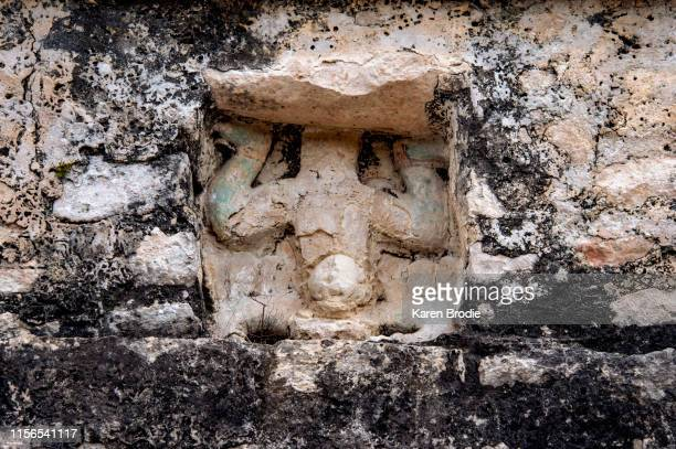 the descending god mayan statue - yucatan peninsula stock pictures, royalty-free photos & images