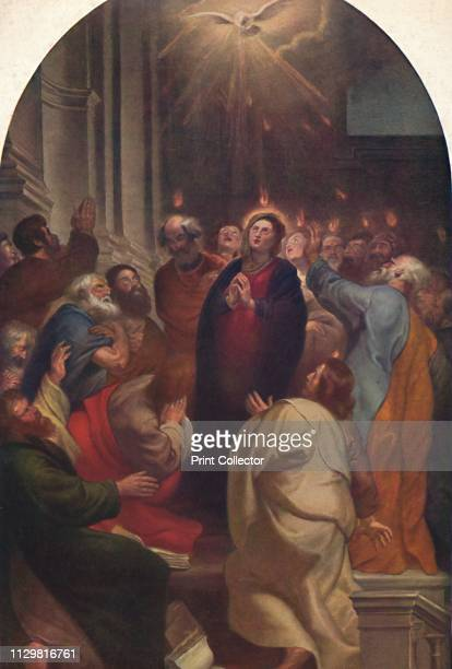 'The Descent of the Holy Spirit' Also known as 'Day of Pentecost' biblical scene depicting 'fiery tongues' descending on the heads of the Virgin and...