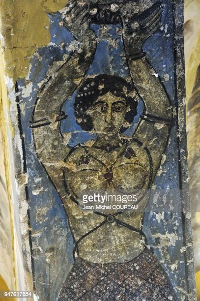 The desert castle, of origin Umayyad, dates the VIIth century. Fresco in the room of audiences: woman naked.