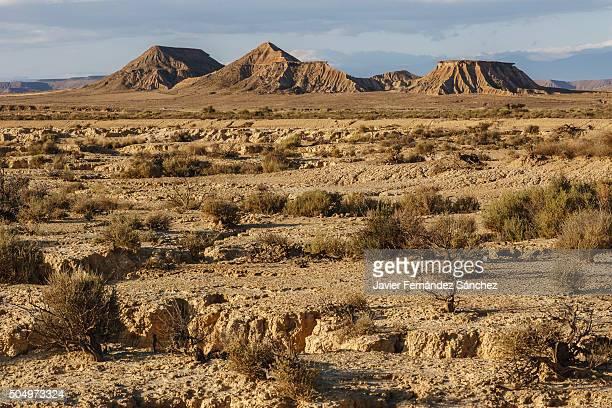 The desert landscape of the Bardenas in Navarra, Spain.