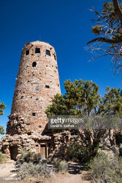 the desert view watchtower at grand canyon national park - lookout tower stock pictures, royalty-free photos & images