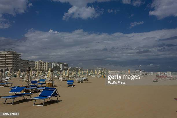 The deserted beach after the passage of a sandstorm A sandstorm hit Miramare the seaside resort of Rimini and Riccione forcing people to leave the...