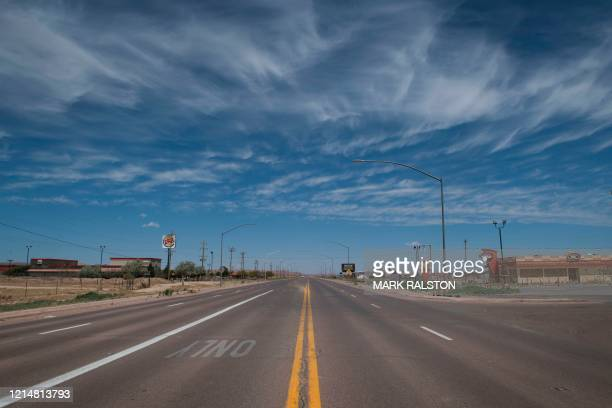 The deserted main street of the Navajo Nation town of Chinle during the 57 hour curfew imposed to try to stop the spread of the Covid-19 virus...