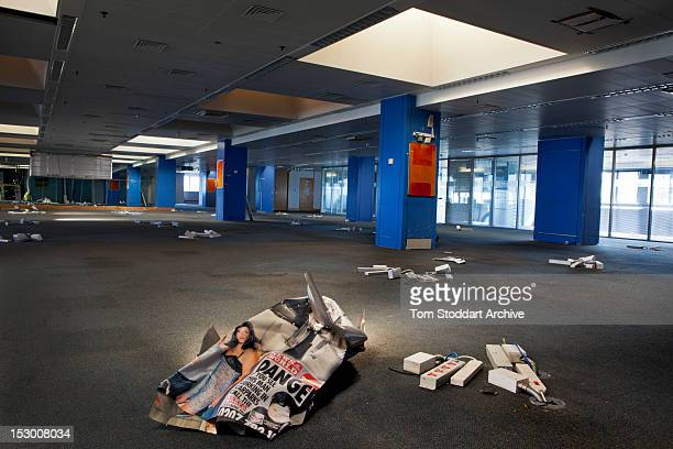 The deserted News of the World newsroom inside the former News International base in Wapping East London Media mogul Rupert Murdoch moved his British...