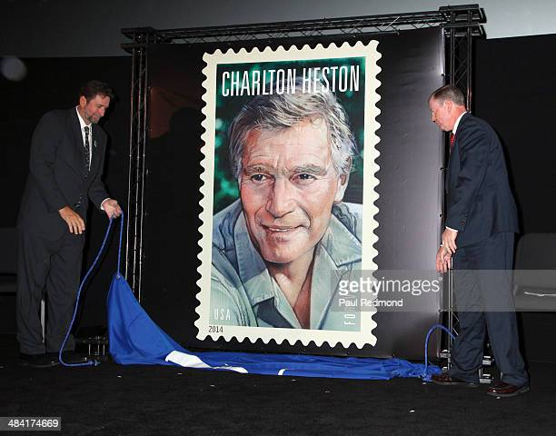 The design of the Charlton Heston Forever Stamp is unveiled by Charlton Heston's son director Fraser Clarke Heston and US Postal Service Board of...
