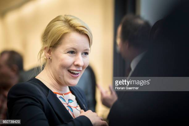The designated German Family Minister Franziska Giffey is pictured before the faction meeting on March 13 2018 in Berlin Germany