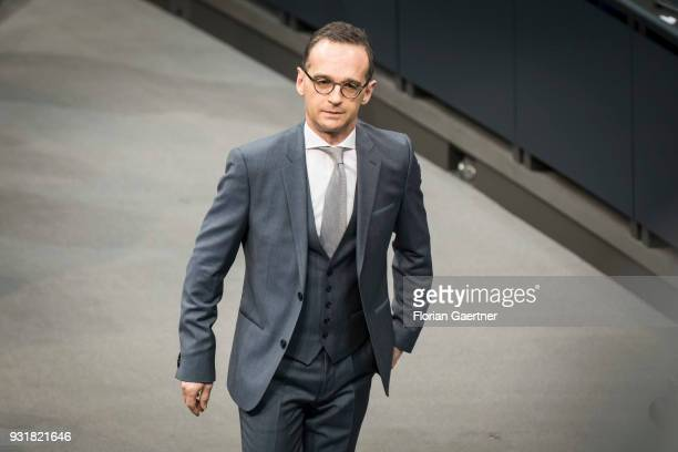The designated German Foreign Minister Heiko Maas looks on before the election of the chancellor on March 14 2018 in Berlin Germany 55 month after...