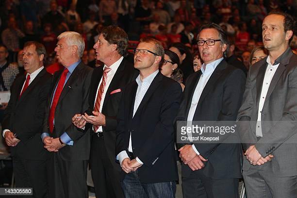 The designated vicpresident Markus Ritterbach the designated president Werner Spinner the designated vicepresident Toni Schumacher head coach Frank...
