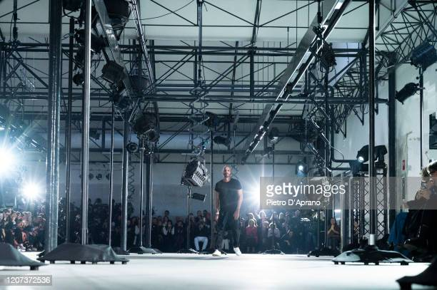 The designer Alessandro Dell'Acqua walks the runway during the N21 fashion show as part of Milan Fashion Week Fall/Winter 2020-2021 on February 19,...