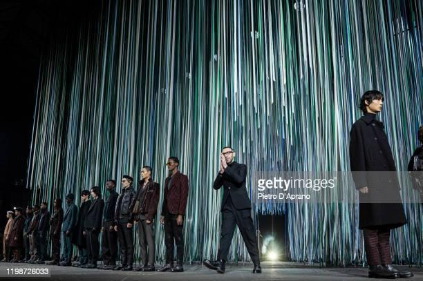 The designer Alessandro Sartori walks the runway at the Ermenegildo Zegna fashion show on January 10, 2020 in Milan, Italy.