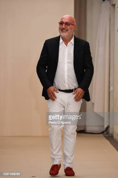 The designer Antonio Croce walks the runway at the Antonio Croce show during Milan Fashion Week Spring/Summer 2019 on September 21 2018 in Milan Italy