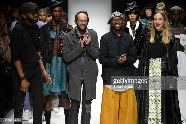 The Designer Clyve , Floyd , Rich and Lezanne at the Mercedes-Benz presents Fashion Talents from South Africa show during Berlin Fashion Week...