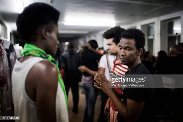 The designer David Tlale checks on his models at his studios at the Joburg Fashion Week on February 19 in Johannesburg South Africa David Tlale is an...