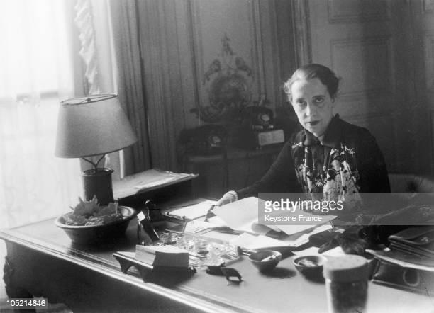 The Designer Elsa Schiaparelli In Her Office At Place Vendôme In Paris In 1935