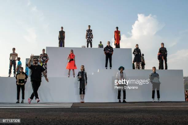 The Designer Francesco Ragazzi walks the runway at the Palm Angels show during Milan Men's Fashion Week Spring/Summer 2019 on June 17, 2018 in Milan,...