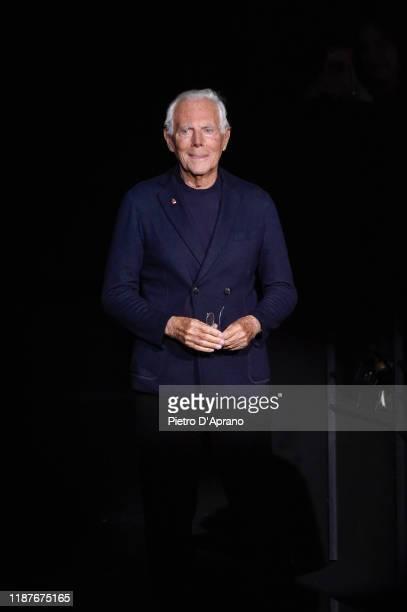 The designer Giorgio Armani walks the runway during the Giorgio Armani Pre-Fall 2020/2021 at Armani Theatre on November 14, 2019 in Milan, Italy.