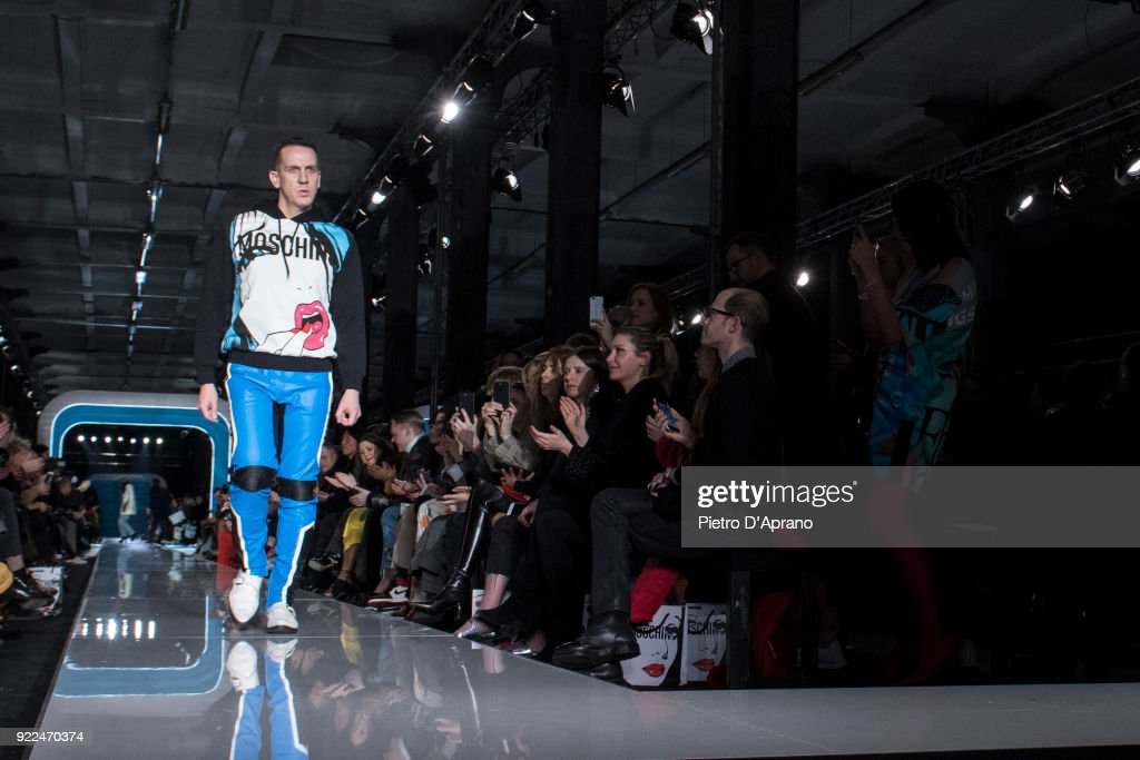 The designer Jeremy Scott walks the runway at the Moschino show during Milan Fashion Week Fall/Winter 2018/19 on February 21, 2018 in Milan, Italy.