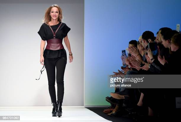 The designer Martina Mueller walking on the runway during the show by the label Callisti at the ewerk during the Mercedes Benz Fashion Week in Berlin...