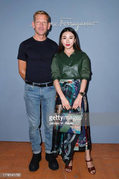 The designer Paul Andrew and a guest attend the Salvatore Ferragamo show during Milan Fashion Week Spring/Summer 2020 on September 21, 2019 in Milan,...